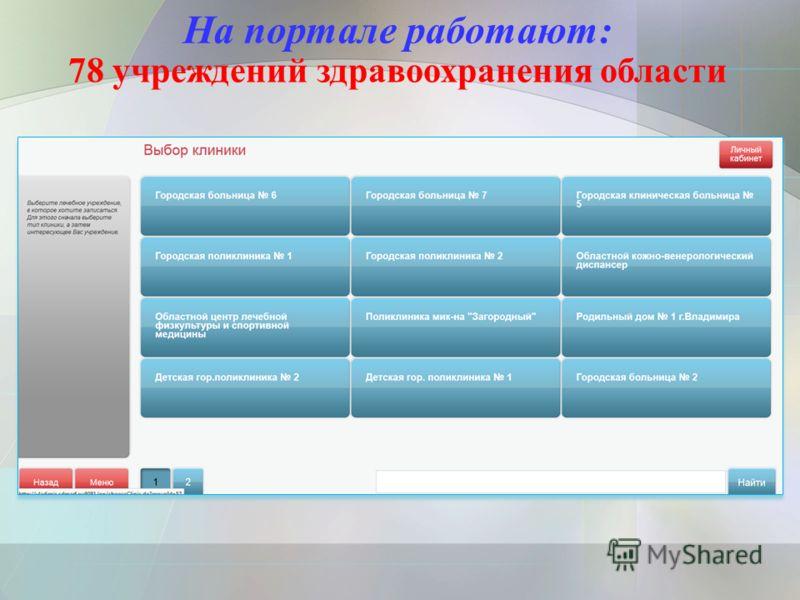 На портале работают: 78 учреждений здравоохранения области