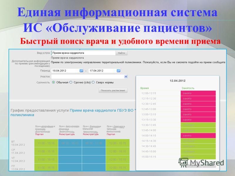 Единая информационная система ИС «Обслуживание пациентов» Быстрый поиск врача и удобного времени приема