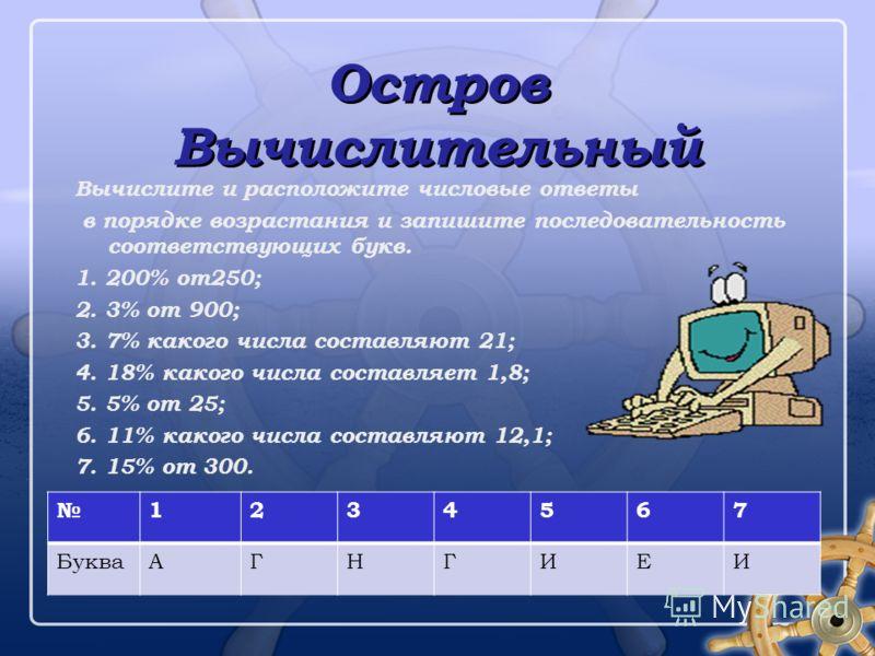 Остров Вычислительный Остров Вычислительный Вычислите и расположите числовые ответы в порядке возрастания и запишите последовательность соответствующих букв. 1. 200% от250; 2. 3% от 900; 3. 7% какого числа составляют 21; 4. 18% какого числа составляе