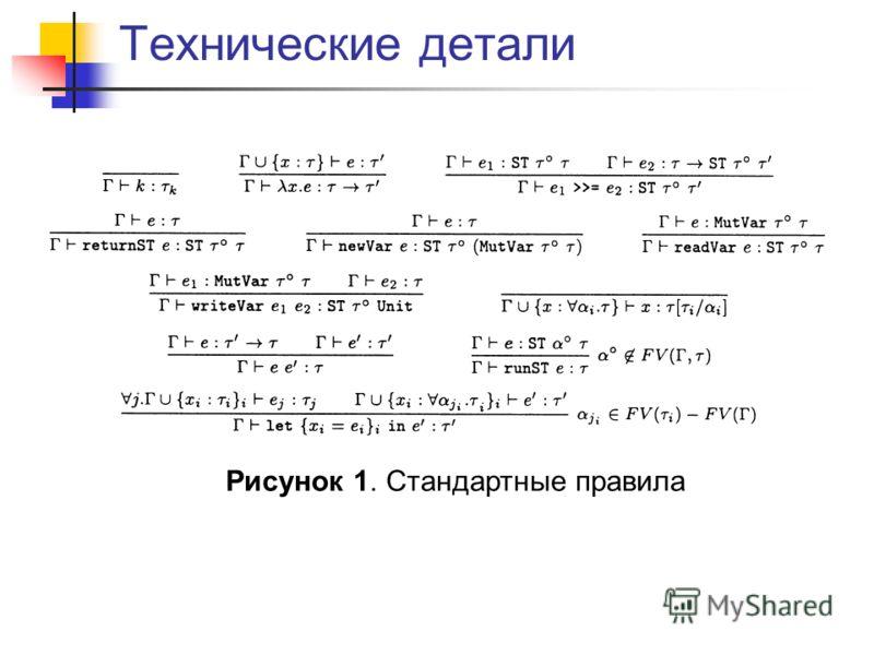 Технические детали Рисунок 1. Стандартные правила