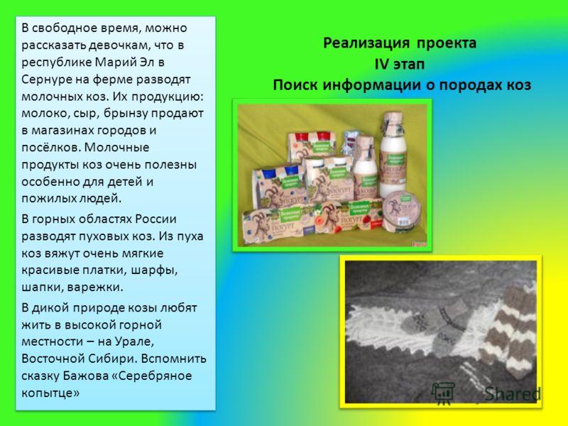Реализация проекта IV этап Поиск информации о породах коз В свободное время, можно рассказать девочкам, что в республике Марий Эл в Сернуре на ферме разводят молочных коз. Их продукцию: молоко, сыр, брынзу продают в магазинах городов и посёлков. Моло