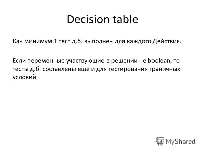 Decision table Как минимум 1 тест д.б. выполнен для каждого Действия. Если переменные участвующие в решении не boolean, то тесты д.б. составлены ещё и для тестирования граничных условий