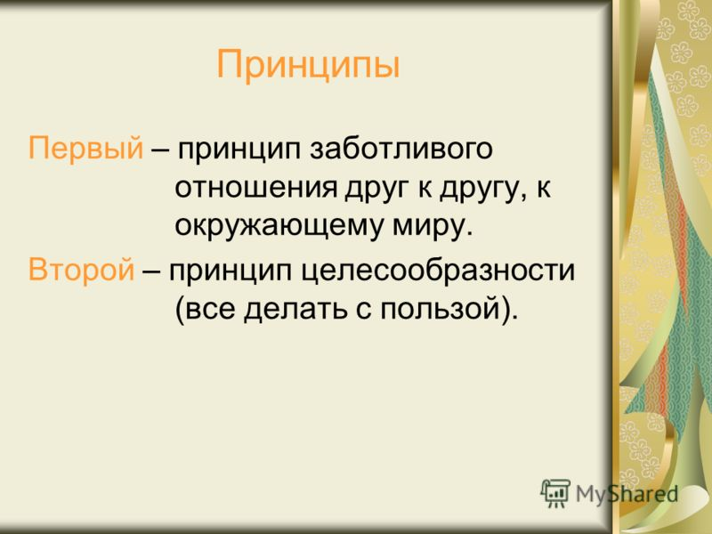 Принципы Первый – принцип заботливого отношения друг к другу, к окружающему миру. Второй – принцип целесообразности (все делать с пользой).