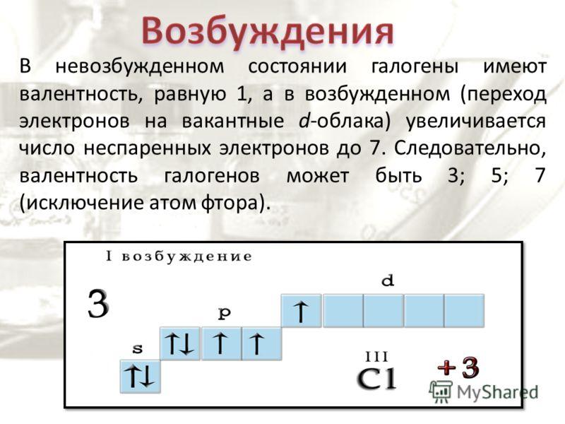 В невозбужденном состоянии галогены имеют валентность, равную 1, а в возбужденном (переход электронов на вакантные d-облака) увеличивается число неспаренных электронов до 7. Следовательно, валентность галогенов может быть 3; 5; 7 (исключение атом фто
