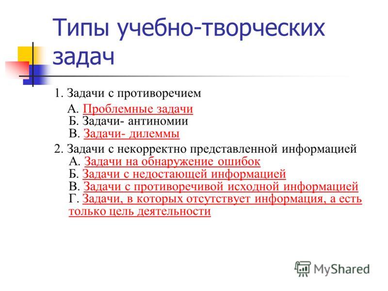 Типы учебно-творческих задач 1. Задачи с противоречием А. Проблемные задачи Б. Задачи- антиномии В. Задачи- дилеммыПроблемные задачиЗадачи- дилеммы 2. Задачи с некорректно представленной информацией А. Задачи на обнаружение ошибок Б. Задачи с недоста