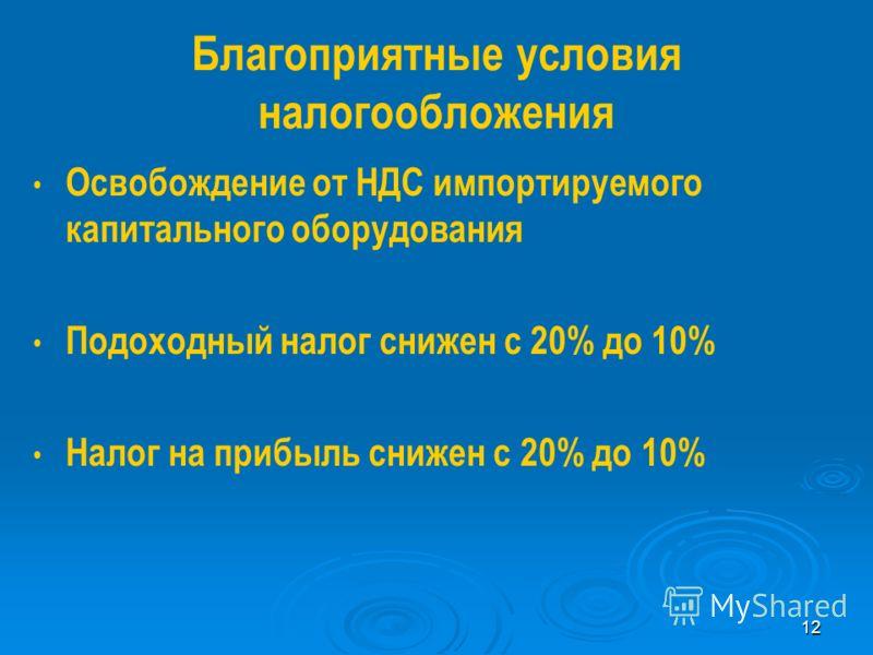 12 Благоприятные условия налогообложения Освобождение от НДС импортируемого капитального оборудования Подоходный налог снижен с 20% до 10% Налог на прибыль снижен с 20% до 10%