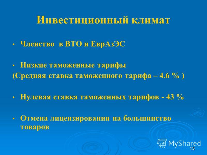 13 Инвестиционный климат Членство в ВТО и ЕврАзЭС Низкие таможенные тарифы (Средняя ставка таможенного тарифа – 4.6 % ) Нулевая ставка таможенных тарифов - 43 % Отмена лицензирования на большинство товаров