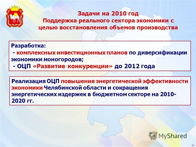 Задачи на 2010 год Поддержка реального сектора экономики с целью восстановления объемов производства 34 Разработка: - комплексных инвестиционных планов по диверсификации экономики моногородов; - ОЦП «Развитие конкуренции» до 2012 года Реализация ОЦП