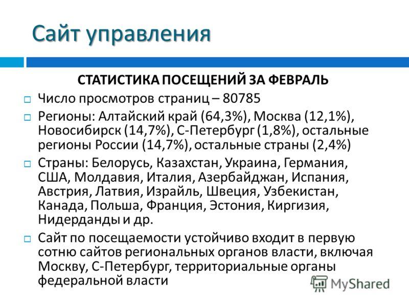 Сайт управления СТАТИСТИКА ПОСЕЩЕНИЙ ЗА ФЕВРАЛЬ Число просмотров страниц – 80785 Регионы : Алтайский край (64,3%), Москва (12,1%), Новосибирск (14,7%), С - Петербург (1,8%), остальные регионы России (14,7%), остальные страны (2,4%) Страны : Белорусь,