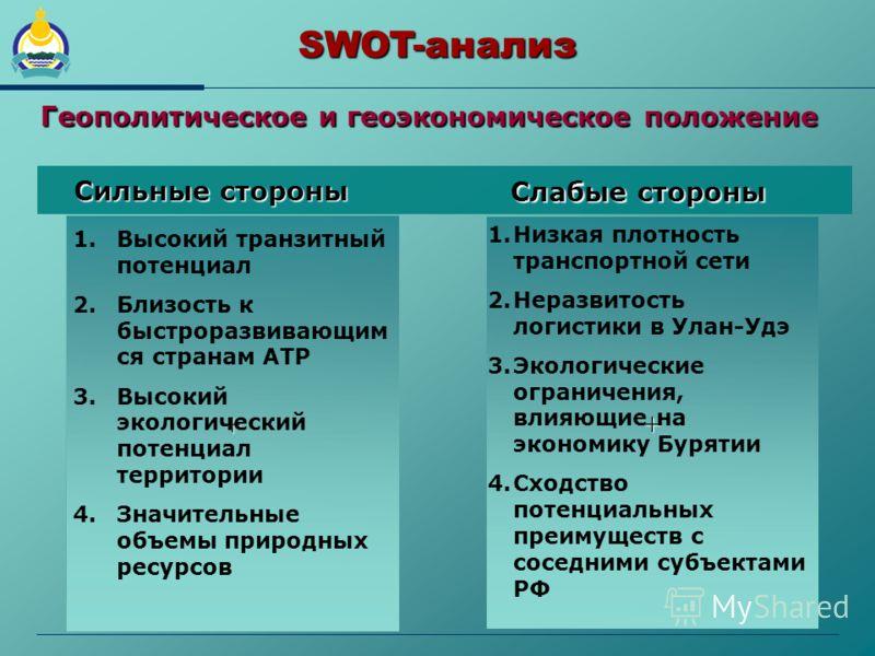 + SWOT-анализ + 1. 1.Высокий транзитный потенциал 2. 2.Близость к быстроразвивающим ся странам АТР 3. 3.Высокий экологический потенциал территории 4. 4.Значительные объемы природных ресурсов 1. 1.Низкая плотность транспортной сети 2. 2.Неразвитость л