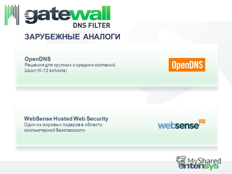 ЗАРУБЕЖНЫЕ АНАЛОГИ OpenDNS Решения для крупных и средних компаний, Школ (K-12 schools) WebSense Hosted Web Security Один из мировых лидеров в области компьютерной безопасности