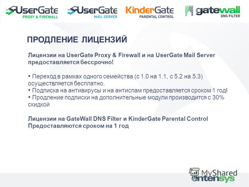 Лицензии на UserGate Proxy & Firewall и на UserGate Mail Server предоставляется бессрочно! Переход в рамках одного семейства (с 1.0 на 1.1, с 5.2 на 5.3) осуществляется бесплатно. Подписка на антивирусы и на антиспам предоставляется сроком 1 год! Про