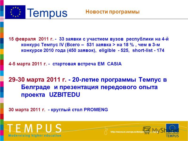 http://eacea.ec.europa.eu/tempus/index_en.php 24 февраля 2011 г. Предыдущее заседание Круглого стола Темпус 34 представителя проектов Темпус Протокол был разослан 2 марта 2011 г. Tempus Предыдущее заседание КГ
