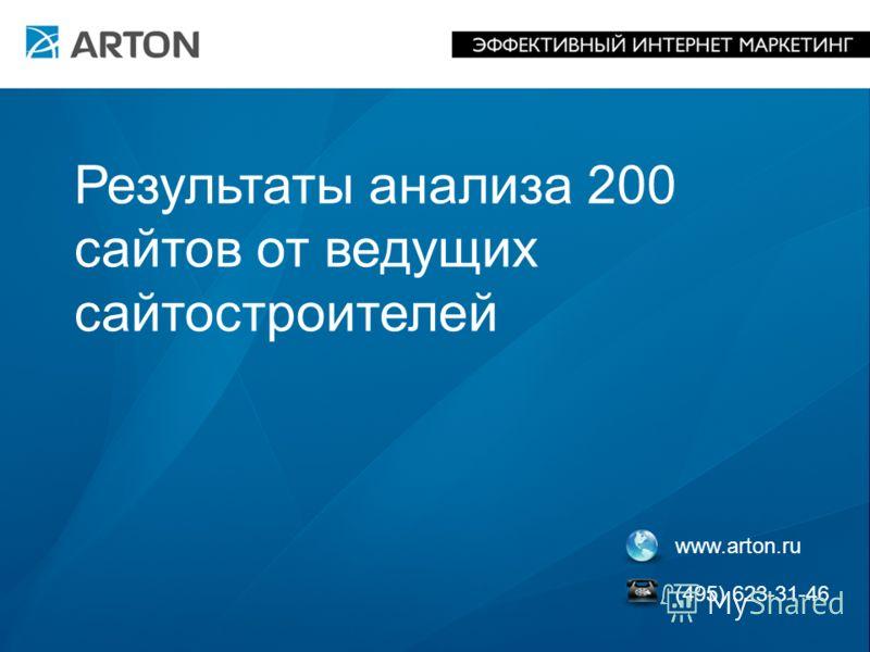 www.arton.ru (495) 623-31-46 Результаты анализа 200 сайтов от ведущих сайтостроителей