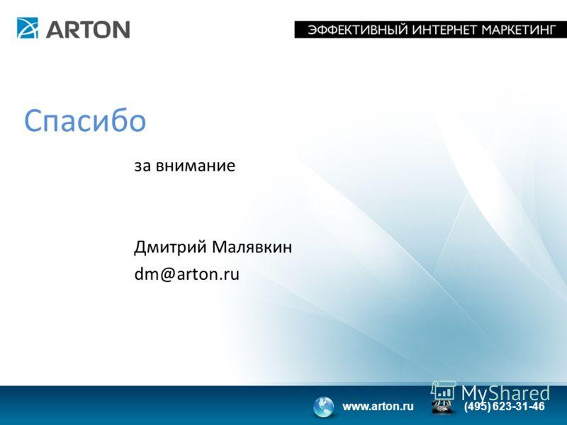 www.arton.ru(495) 623-31-46 Спасибо за внимание Дмитрий Малявкин dm@arton.ru