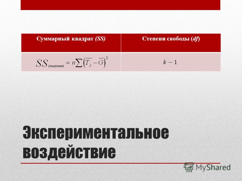 Экспериментальное воздействие Суммарный квадрат (SS)Степени свободы (df)