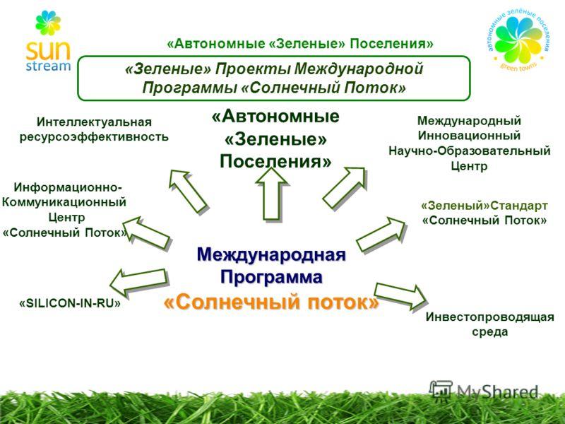 «SILICON-IN-RU» «Зеленые» Проекты Международной Программы «Солнечный Поток» Интеллектуальная ресурсоэффективность «Автономные «Зеленые» Поселения» «Зеленый»Стандарт «Солнечный Поток» Информационно- Коммуникационный Центр «Солнечный Поток» Международн