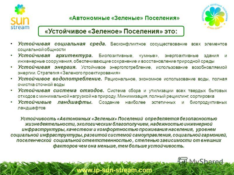 «Устойчивое «Зеленое» Поселения» это: www.ip-sun-stream.com Устойчивая социальная среда. Бесконфликтное сосуществование всех элементов социальной общности Устойчивая архитектура. Биопозитивные, «умные», энергоактивные здания и инженерные сооружения,