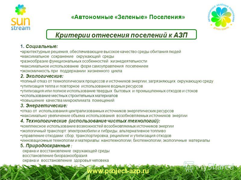 www.project-azp.ru Критерии отнесения поселений к АЗП 1. Социальные: архитектурные решения, обеспечивающие высокое качество среды обитания людей максимальное сохранение окружающей среды разнообразие функциональных особенностей жизнедеятельности макси