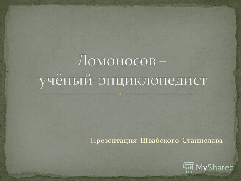 Презентация Швабского Станислава