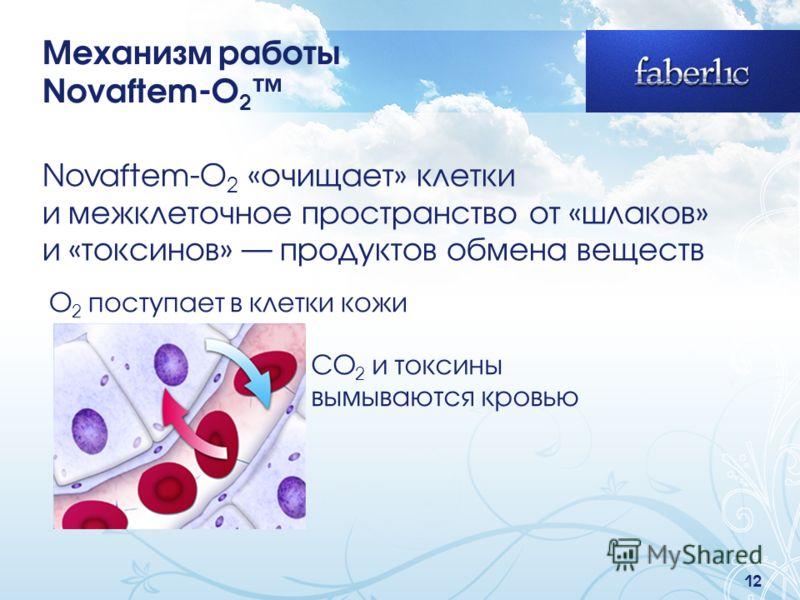 12 Novaftem-O 2 «очищает» клетки и межклеточное пространство от «шлаков» и «токсинов» продуктов обмена веществ Механизм работы Novaftem-O 2 O 2 поступает в клетки кожи CO 2 и токсины вымываются кровью