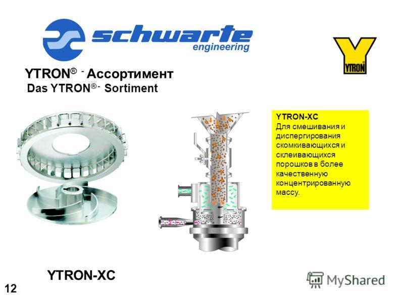 YTRON ® - Ассортимент Das YTRON ® - Sortiment YTRON-XC Для смешивания и диспергирования скомкивающихся и склеивающихся порошков в более качественную концентрированную массу. YTRON-XC 12