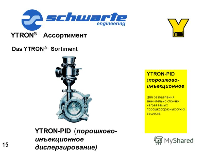 YTRON ® - Ассортимент Das YTRON ® - Sortiment YTRON-PID (порошково- инъекционное Для разбавления значительно сложно нагреваемых порошкообразных сухих веществ. YTRON-PID (порошково- инъекционное диспергирование) 15