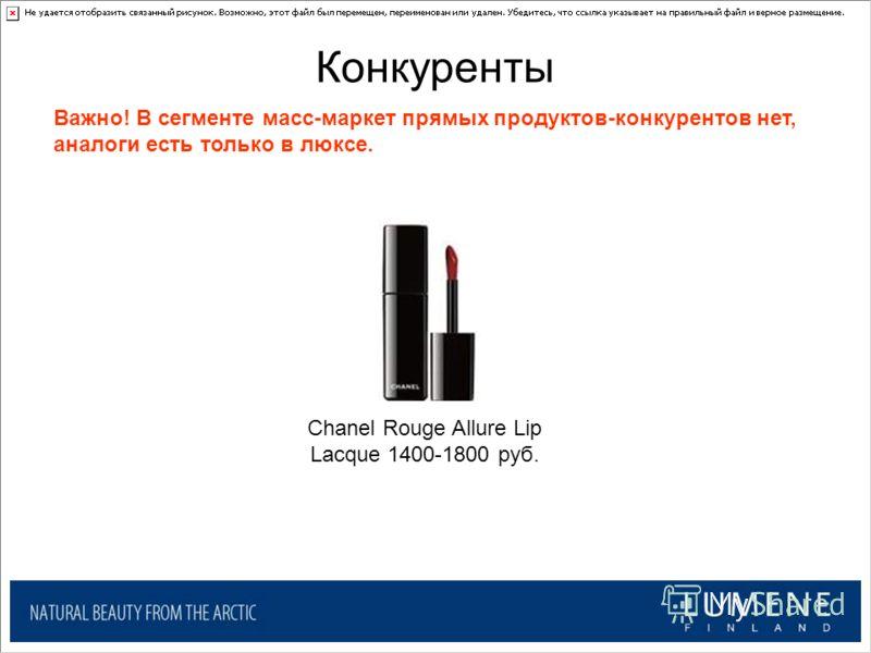 Конкуренты Chanel Rouge Allure Lip Lacque 1400-1800 руб. Важно! В сегменте масс-маркет прямых продуктов-конкурентов нет, аналоги есть только в люксе.