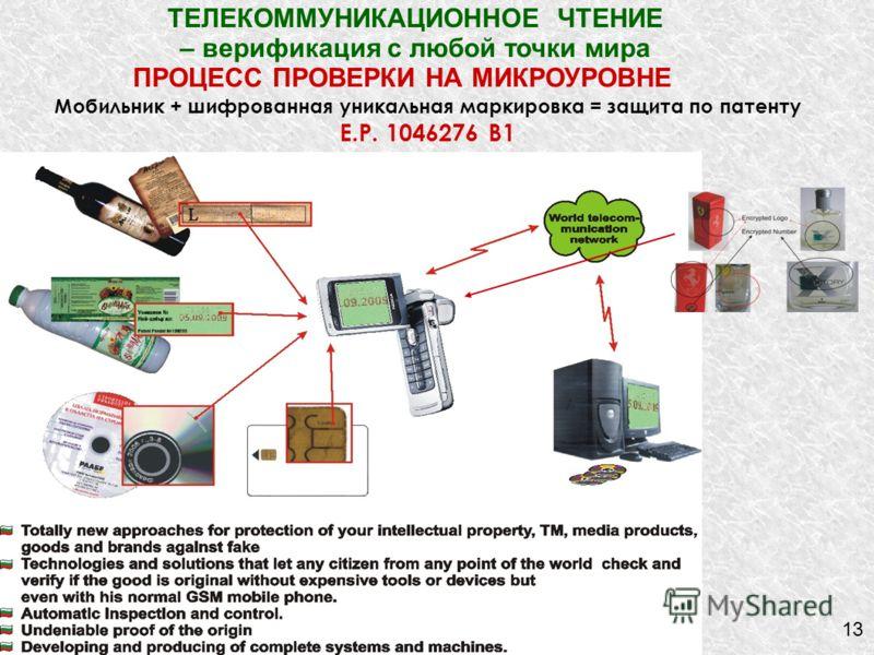 13 Мобильник + шифрованная уникальная маркировка = защита по патенту E.P. 1046276 B1 ТЕЛЕКОММУНИКАЦИОННОЕ ЧТЕНИЕ – верификация с любой точки мира ПРОЦЕСС ПРОВЕРКИ НА МИКРОУРОВНЕ