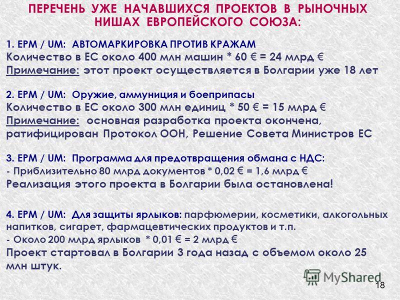 ПЕРЕЧЕНЬ УЖЕ НАЧАВШИХСЯ ПРОЕКТОВ В РЫНОЧНЬІХ НИШАХ ЕВРОПЕЙСКОГО СОЮЗА: 1. EPM / UM: АВТОМАРКИРОВКА ПРОТИВ КРАЖАМ Количество в ЕС около 400 млн машин * 60 = 24 млрд Примечание: этот проект осуществляется в Болгарии уже 18 лет 2. EPM / UM: Оружие, амму