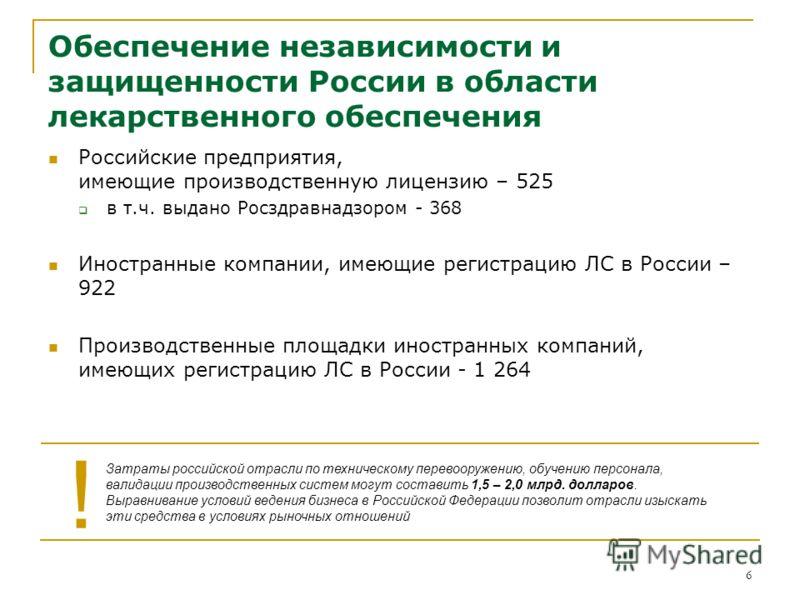 6 Обеспечение независимости и защищенности России в области лекарственного обеспечения Российские предприятия, имеющие производственную лицензию – 525 в т.ч. выдано Росздравнадзором - 368 Иностранные компании, имеющие регистрацию ЛС в России – 922 Пр
