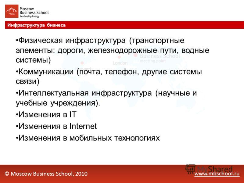 www.mbschool.ru Инфраструктура бизнеса © Moscow Business School, 2010 Физическая инфраструктура (транспортные элементы: дороги, железнодорожные пути, водные системы) Коммуникации (почта, телефон, другие системы связи) Интеллектуальная инфраструктура