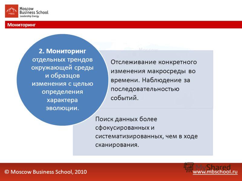 www.mbschool.ru Мониторинг © Moscow Business School, 2010 Отслеживание конкретного изменения макросреды во времени. Наблюдение за последовательностью событий. Поиск данных более сфокусированных и систематизированных, чем в ходе сканирования. 2. Монит