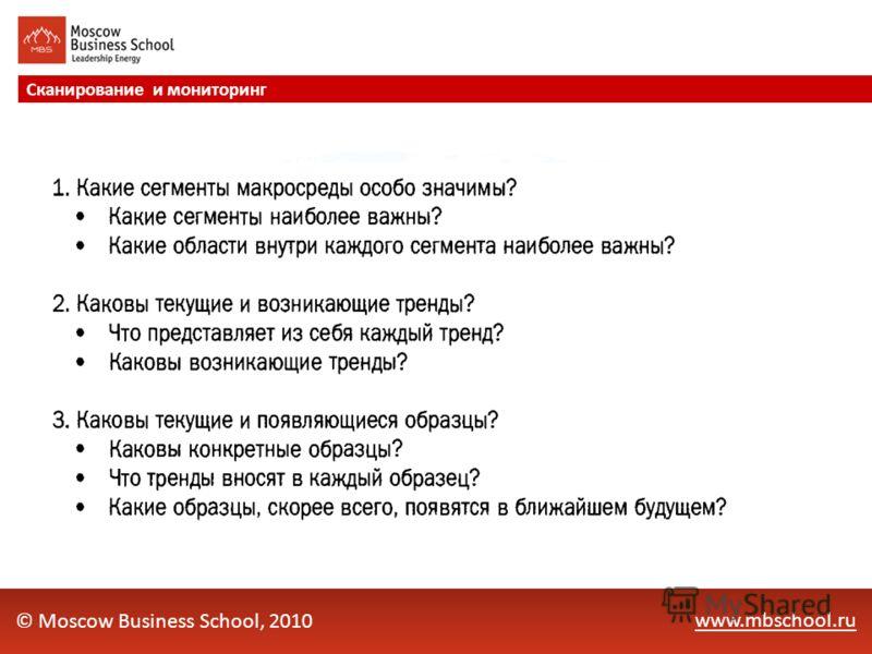 www.mbschool.ru Сканирование и мониторинг © Moscow Business School, 2010