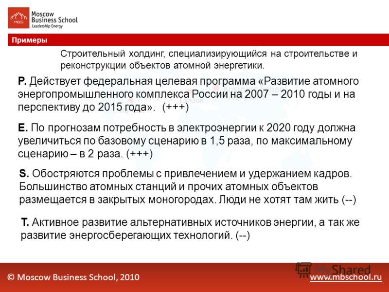 www.mbschool.ru Примеры © Moscow Business School, 2010 P. Действует федеральная целевая программа «Развитие атомного энергопромышленного комплекса России на 2007 – 2010 годы и на перспективу до 2015 года». (+++) E. По прогнозам потребность в электроэ