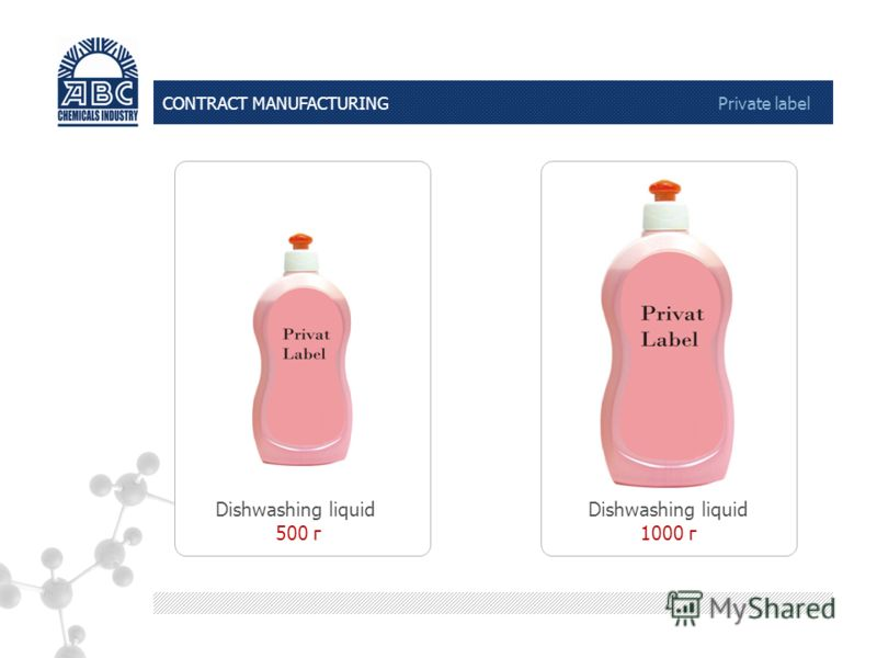 CONTRACT MANUFACTURING Private label Dishwashing liquid 500 г Dishwashing liquid 1000 г