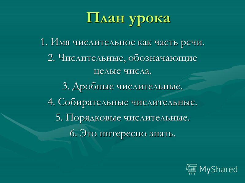 План урока 1. Имя числительное как часть речи. 2. Числительные, обозначающие целые числа. 3. Дробные числительные. 4. Собирательные числительные. 5. Порядковые числительные. 6. Это интересно знать.