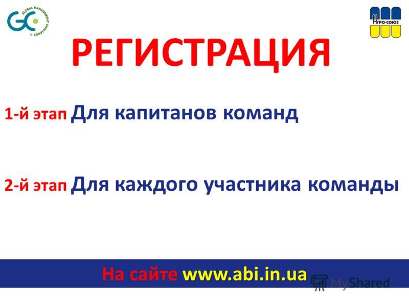 РЕГИСТРАЦИЯ www.abi.in.ua На сайте www.abi.in.ua 1-й этап Для капитанов команд 2-й этап Для каждого участника команды