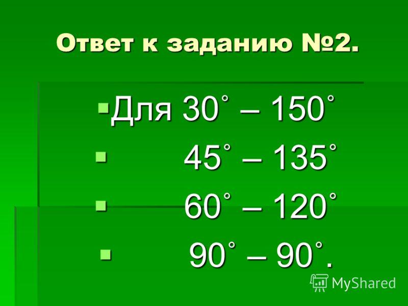 Ответ к заданию 2. Для 30˚ – 150˚ Для 30˚ – 150˚ 45˚ – 135˚ 45˚ – 135˚ 60˚ – 120˚ 60˚ – 120˚ 90˚ – 90˚. 90˚ – 90˚.