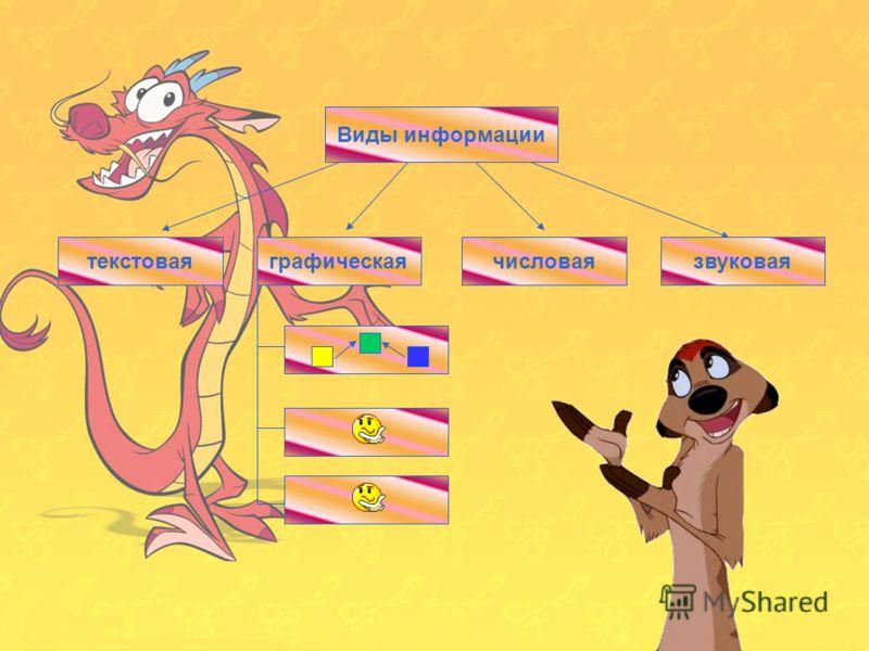 11 Виды информации числоваятекстоваяграфическаязвуковая Виды информации текстоваячисловаязвуковая