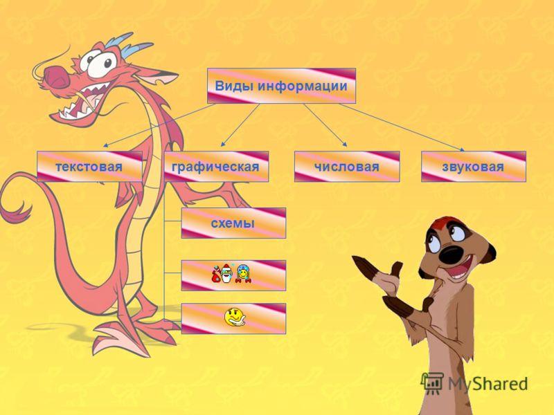 13 Виды информации числоваятекстовая схемы графическаязвуковаятекстовая Виды информации числоваязвуковаяграфическая