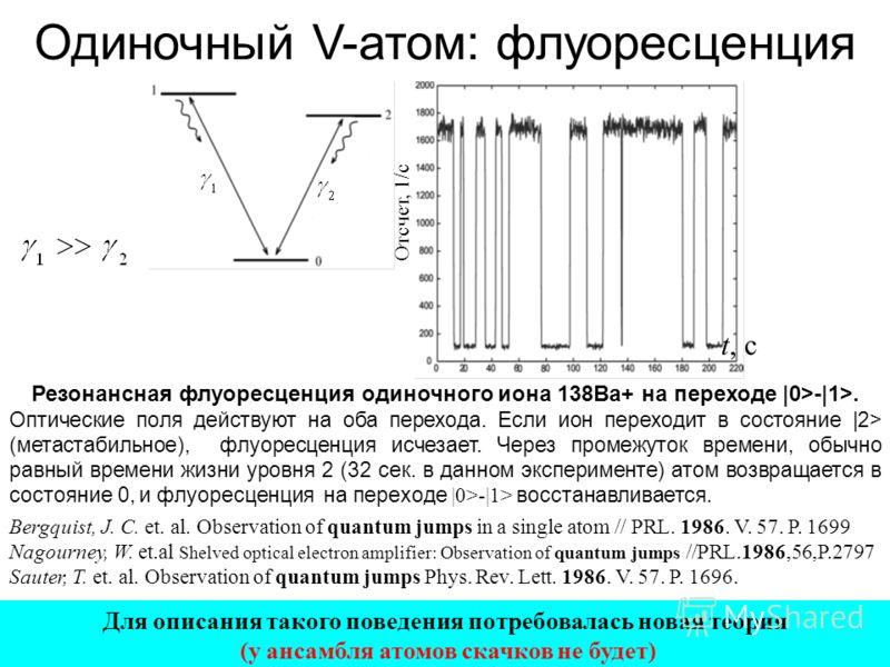 Резонансная флуоресценция одиночного иона 138Ba+ на переходе |0>-|1>. Оптические поля действуют на оба перехода. Если ион переходит в состояние |2> (метастабильное), флуоресценция исчезает. Через промежуток времени, обычно равный времени жизни уровня