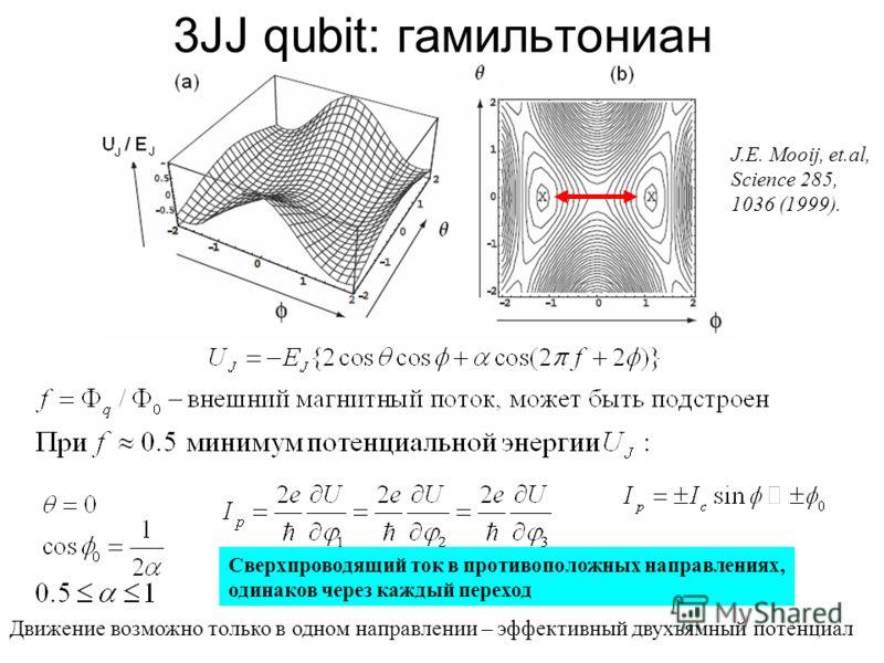 Движение возможно только в одном направлении – эффективный двухъямный потенциал J.E. Mooij, et.al, Science 285, 1036 (1999). Сверхпроводящий ток в противоположных направлениях, одинаков через каждый переход 3JJ qubit: гамильтониан