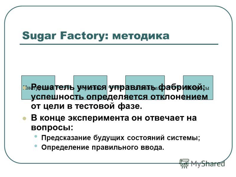 Sugar Factory: методика Инструкция ОбучениеТестовая фазаВопросы Решатель учится управлять фабрикой; успешность определяется отклонением от цели в тестовой фазе. В конце эксперимента он отвечает на вопросы: Предсказание будущих состояний системы; Опре