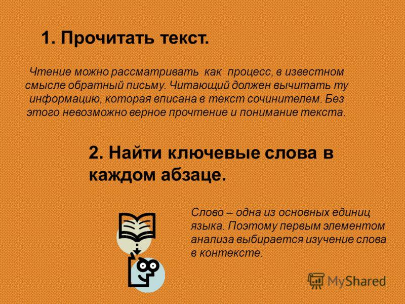 1. Прочитать текст. Чтение можно рассматривать как процесс, в известном смысле обратный письму. Читающий должен вычитать ту информацию, которая вписана в текст сочинителем. Без этого невозможно верное прочтение и понимание текста. 2. Найти ключевые с
