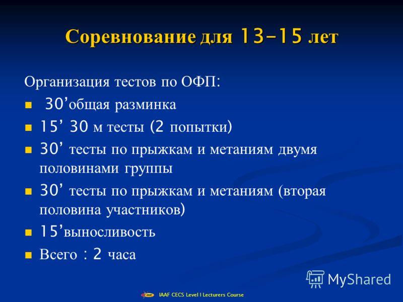IAAF CECS Level I Lecturers Course Соревнование для 13-15 лет Организация тестов по ОФП : 30 общая разминка 15 30 м тесты (2 попытки ) 30 тесты по прыжкам и метаниям двумя половинами группы 30 тесты по прыжкам и метаниям (вторая половина участников )