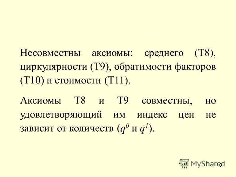 10 Несовместны аксиомы: среднего (Т8), циркулярности (Т9), обратимости факторов (Т10) и стоимости (Т11). Аксиомы Т8 и Т9 совместны, но удовлетворяющий им индекс цен не зависит от количеств (q 0 и q 1 ).