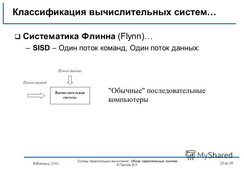 Н.Новгород, 2008 г. Основы параллельных вычислений: Обзор параллельных систем © Гергель В.П. 28 из 39 Систематика Флинна (Flynn)… –SISD – Один поток команд, Один поток данных: Классификация вычислительных систем… Поток команд Поток данных Вычислитель