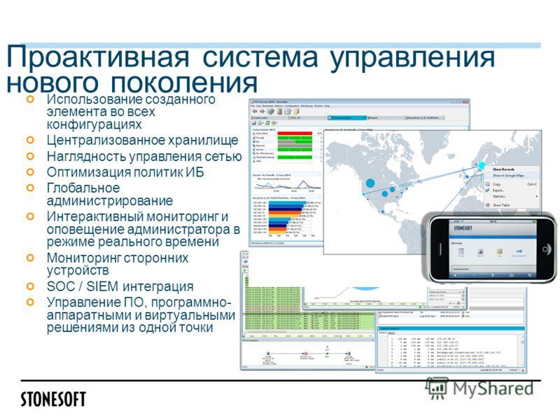 Использование созданного элемента во всех конфигурациях Централизованное хранилище Наглядность управления сетью Оптимизация политик ИБ Глобальное администрирование Интерактивный мониторинг и оповещение администратора в режиме реального времени Монито