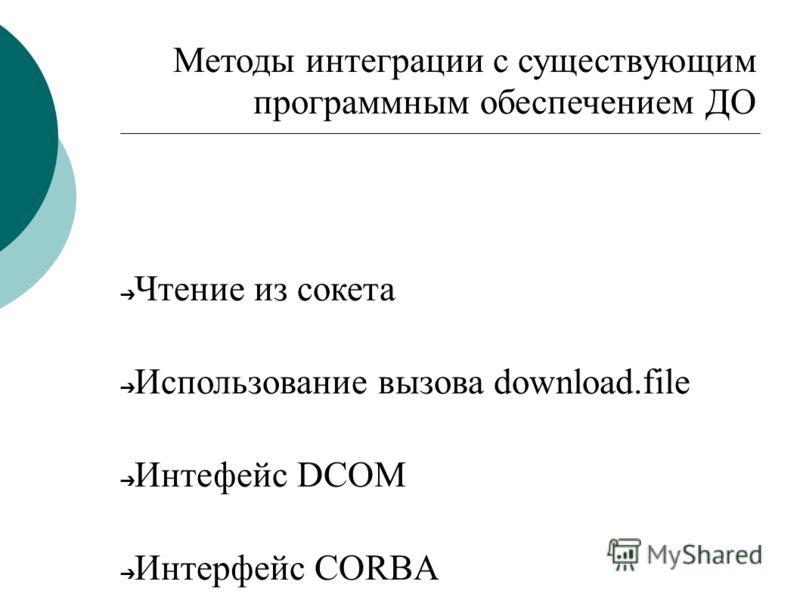 Методы интеграции с существующим программным обеспечением ДО Чтение из сокета Использование вызова downlоad.file Интефейс DCOM Интерфейс CORBA